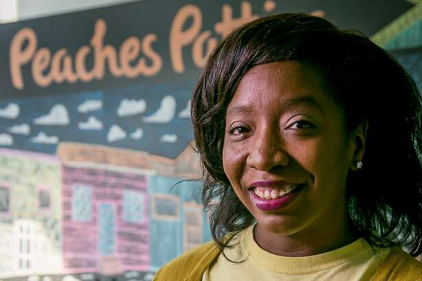 Shani Jones of Peaches Patties Jamaican Kitchen holds a Chicken Curry patty in San Francisco, Calif. on October 11th, 2017