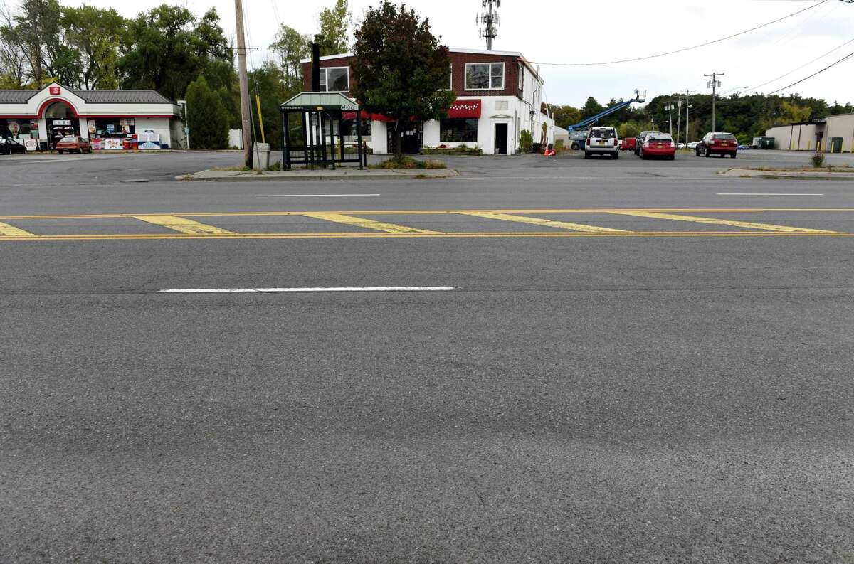 """Delaware Avenue near Delaware Plaza on Wednesday, Oct. 11, 2017, in Bethlehem, N.Y. A recently completed town study found that a full """"road diet"""" on Delaware Avenue between Elsmere Avenue and the city of Albany would greatly improve safety along the busy road. (Will Waldron/Times Union)"""