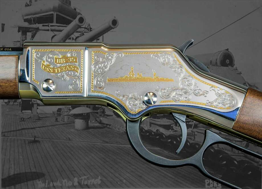 A rifle on sale to raise funds for preservation of the Battleship Texas features engravings on the receiver.