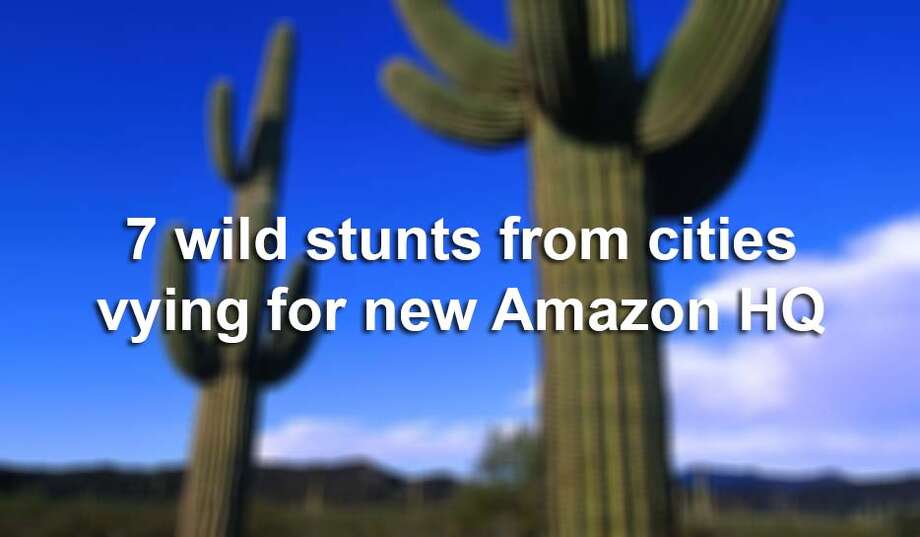 From cactus gifts to giant Amazon box social media campaigns, check out the great lengths cities are going to land Amazon's new $5 billion headquarters. Photo: SAEN