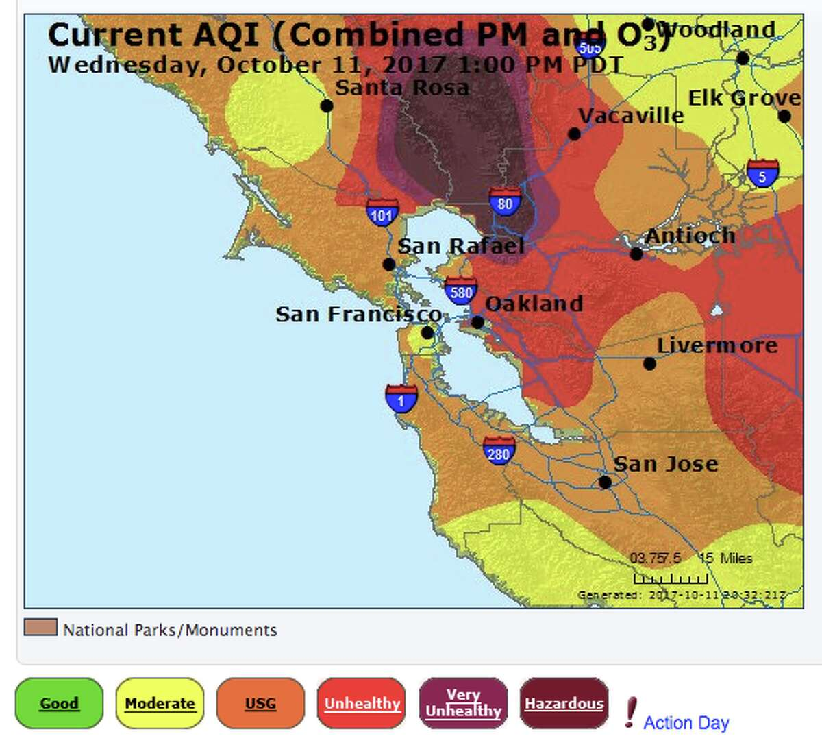 Air quality levels around the Bay Area on Oct. 11, 2017, at 1 p.m.