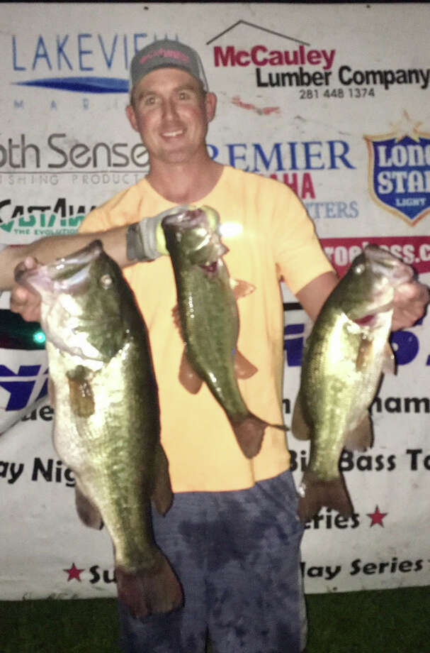 Brad Lanier came in first place in the CONROEBASS Tuesday Night Tournament with a stringer weight of 12.79 pounds.  Lanier also has the big bass of the day weighing 7.55 pounds. Photo: CONROEBASS