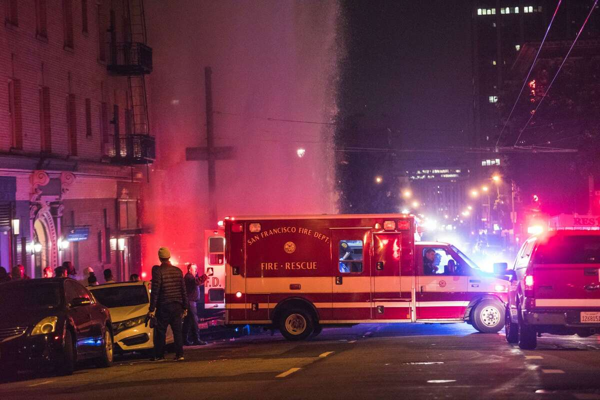 Police respond to a crash on Post and Larkin streets near Union Square in San Francisco early Wednesday morning.