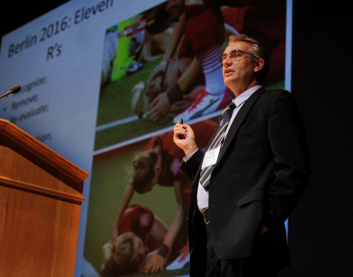 Dr. Hamish Kerr discusses how to recognize concussions in athletes during his talk, Concussion in Youth Athletes: Is this Hype or Science?, at the 40th Annual Maxwell Bogin, MD Lectures in Pediatrics, Hot Topics in Sports Medicine at Fairfield University's Quick Center in Fairfield, Conn. on Wednesday, October 11, 2017.