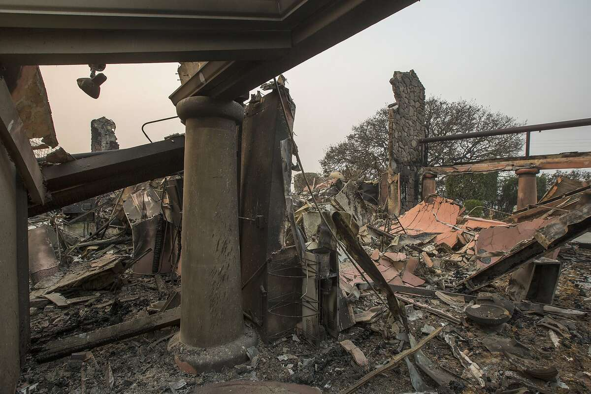 The family-owned winery, Signorello Estate, on Napa's Silverado Trail is left in ruins by the Atlas Fire on Oct. 11, 2017 near Napa. In one of the worst wildfires in state history, more than 2,000 homes have burned and at least 17 people have been killed as more than 14 wildfires continue to spread with little containment in eight Northern California counties.