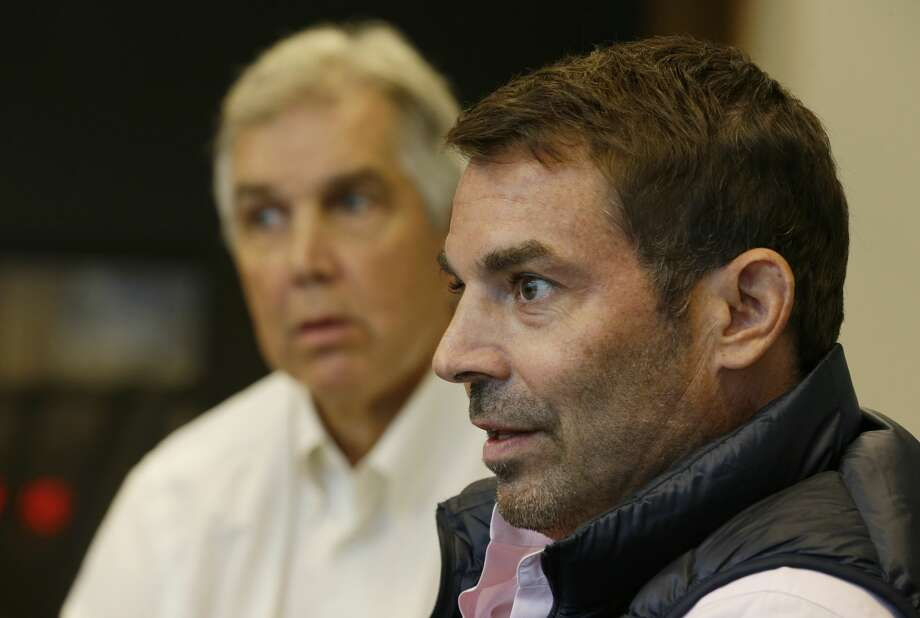 Chris Hansen, right, the investor who is seeking to build an arena that could host an NBA basketball team near Safeco Field in Seattle, takes part in an interview with the Associated Press, Tuesday, Oct. 10, 2017, in Seattle. Hansen is scheduled to attend a Seattle City Council hearing Tuesday in support of his plan, even as the city has already indicated official support for a competing plan from the Oak View Group to remodel the existing KeyArena instead of building a new facility. (AP Photo/Ted S. Warren) Photo: Ted S. Warren/AP