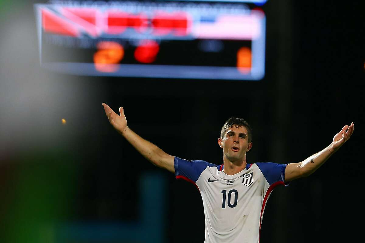 COUVA, TRINIDAD AND TOBAGO - OCTOBER 10: Christian Pulisic of the United States mens national team reacts to the referee's call during the FIFA World Cup Qualifier match between Trinidad and Tobago at the Ato Boldon Stadium on October 10, 2017 in Couva, Trinidad And Tobago. (Photo by Ashley Allen/Getty Images)