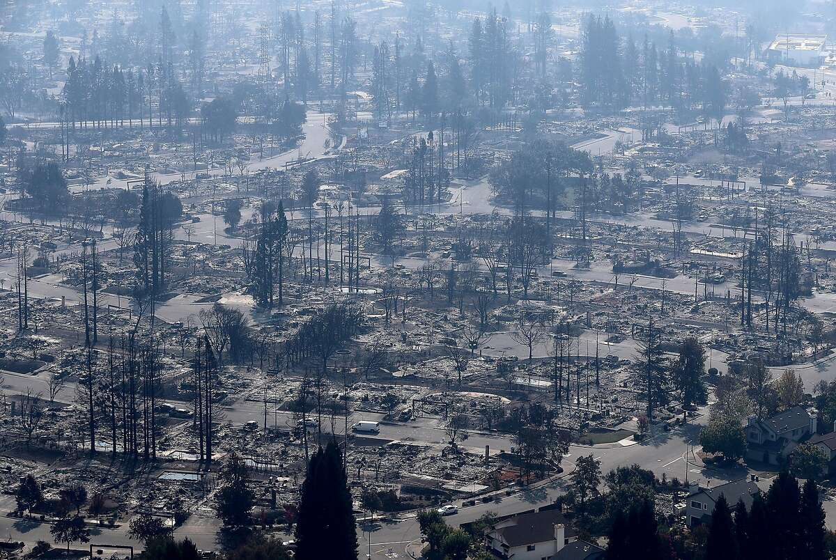 An aerial view of homes that were destroyed by the Tubbs Fire on October 11, 2017 in Santa Rosa, California. Twenty one people have died in wildfires that have burned tens of thousands of acres and destroyed over 3,000 homes and businesses in several Northen California counties. (Photo by Justin Sullivan/Getty Images)