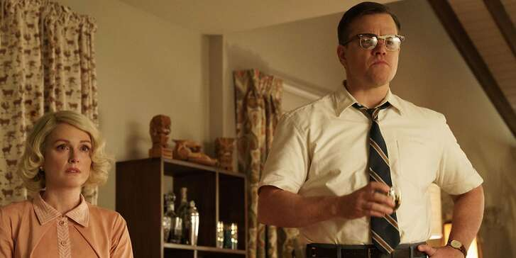 """L-R: Julianne Moore and Matt Damon in a scene from """"Suburbicon,"""" opening at Bay Area theaters on Friday, Oct. 27. Photo courtesy of TIFF."""