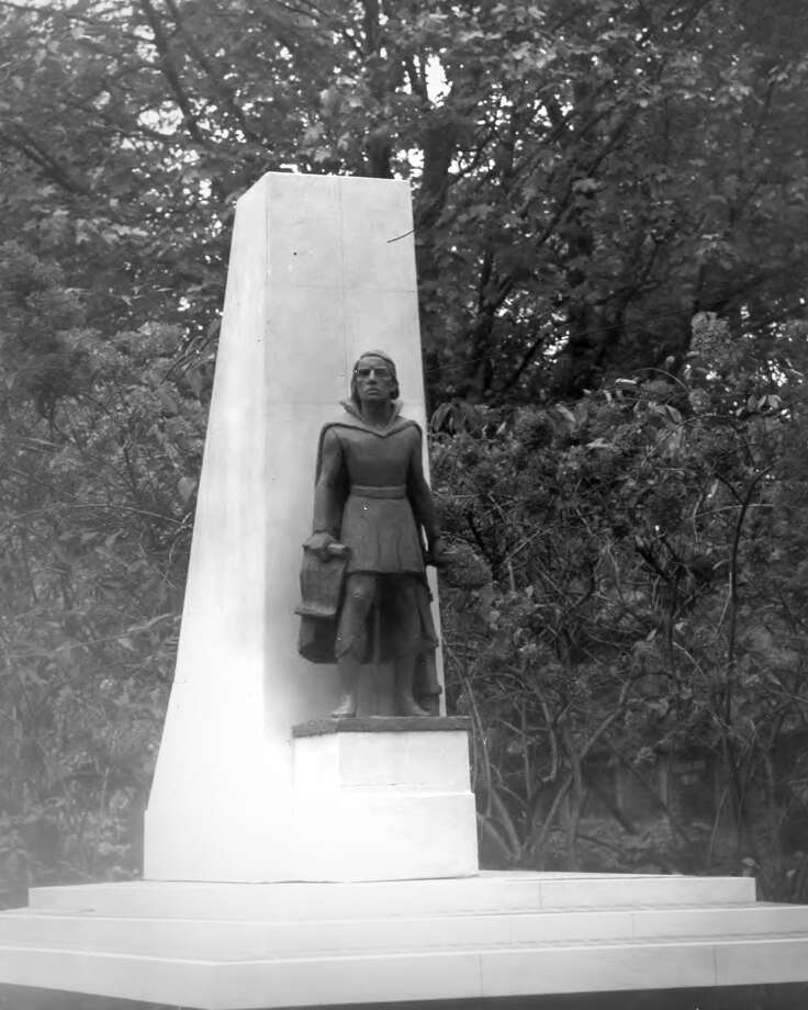 The Christopher Columbus memorial and sculpture in Bridgeport's Seaside Park was dedicated in 1965. Photo: Contributed Photo / Contributed Photo / Connecticut Post Contributed