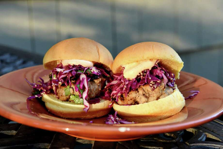 Chinese five-spice turkey sliders with purple cabbage slaw and sriracha mayo from Caroline Barrett on Thursday, Oct. 5, 2017, in Delmar, N.Y. (Will Waldron/Times Union) Photo: Will Waldron / 40041013A