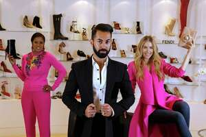Fady Armanious, creative director of Tootsies, center, is shown with Adrian Kreps, left, and Kate Kutchins, right, at Tootsies, 2601 Westheimer Rd., Tuesday, Oct. 3, 2017, in Houston.
