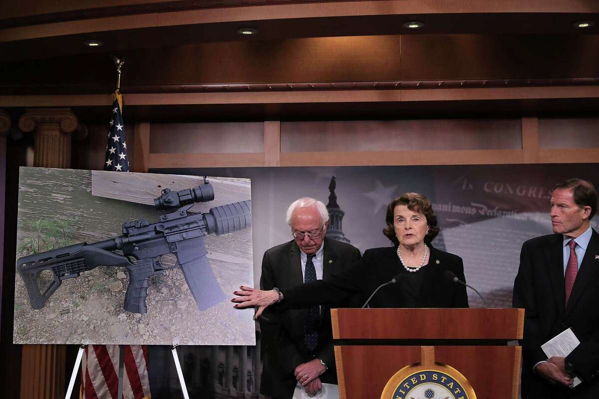 In the aftermath of the mass shootings in Las Vegas, Sens. Bernie Sanders (left), Dianne Feinstein and Richard Blumenthal hold a news conference to announce proposed gun control legislation at the U.S. Capitol. Some of our readers see a need for the legislation.