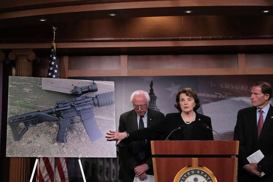 In the aftermath of the mass shootings in Las Vegas, Sens. Bernie Sanders (left), Dianne Feinstein and Richard Blumenthal hold a news conference to announce proposed gun control legislation at the U.S. Capitol. Some of our readers see a need for the legislation. Photo: Chip Somodevilla /Getty Images / 2017 Getty Images