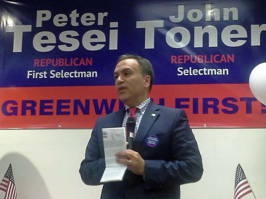 First Selectman Peter Tesei speaks during the opening of the Greenwich Republican Town Commiittee headquarters Tuesday. Photo: Contributed Photo/