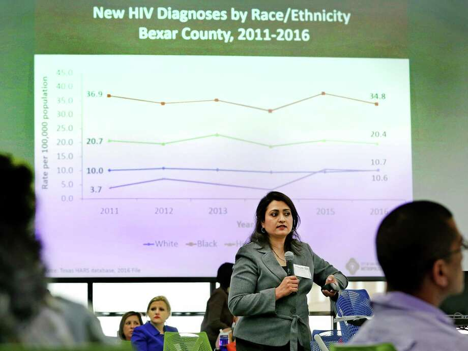 Anita Kurian, assistant director of the Communicable Disease Division at the San Antonio Metropolitan Health District, talks during Metro Health's HIV summit with community leaders and people living with HIV at UT Health San Antonio on Wednesday. Photo: Bob Owen /San Antonio Express-News / ©2017 San Antonio Express-News