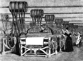 Power Looms�1844: Power looms being used in textile manufacturing during the industrial revolution. (Photo by Hulton Archive/Getty Images)