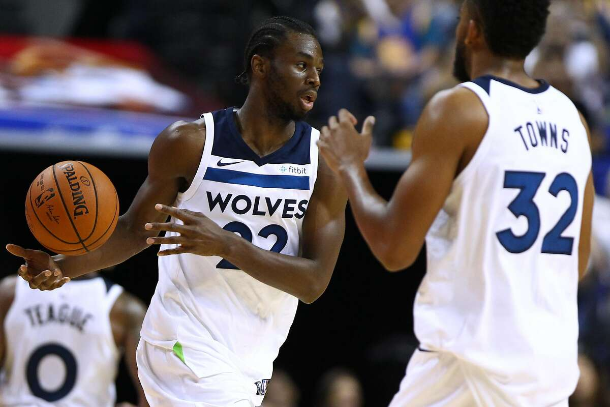 Andrew Wiggins #22 of the Minnesota Timberwolves in action during the game between the Minnesota Timberwolves and the Golden State Warriors as part of 2017 NBA Global Games China at Mercedes-Benz Arena on October 8, 2017 in Shanghai, China. (Photo by Zhong Zhi/Getty Images)