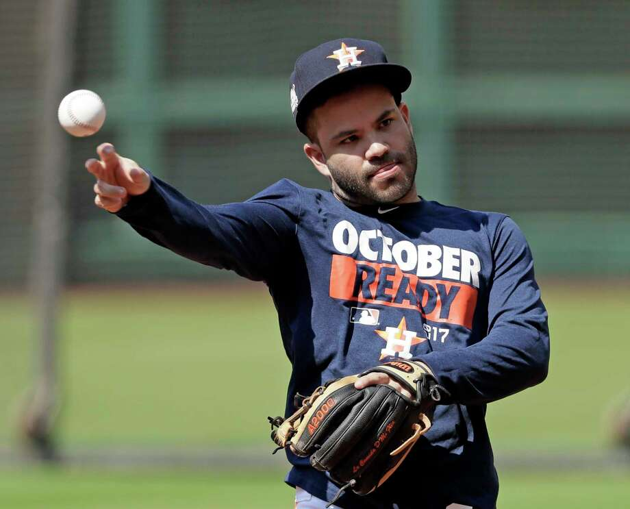 Houston Astros second baseman Jose Altuve throws during practice Wednesday, Oct. 11, 2017, in Houston. The Astros beat the Red Sox to advance to the ALCS which is set to begin Friday. (AP Photo/David J. Phillip) Photo: David J. Phillip, STF / Copyright 2017 The Associated Press. All rights reserved.