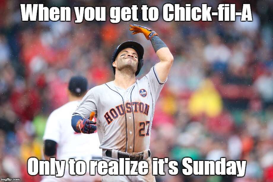 PHOTOS: An Astros meme for every situationThe Astros have provided plenty of excitement this season and plenty of memeable and GIF-able moments. Our Demetrio Teniente put together an Astros meme for all kinds of situations in life.Browse through the photos above for a look at Astros memes for every occasion. Photo: Demetrio Teniente