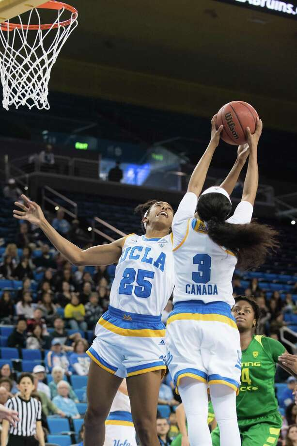 LOS ANGELES, CA - JANUARY 15: UCLA Bruins forward Monique Billings (25) and UCLA Bruins guard Jordin Canada (3) go for a rebound during the game between the Oregon Ducks and the UCLA Bruins on January 15, 2017, at Pauley Pavilion in Los Angeles, CA. (Photo by David Dennis/Icon Sportswire via Getty Images) Photo: Icon Sportswire / Icon Sportswire Via Getty Images / ©Icon Sportswire (A Division of XML Team Solutions) All Rights Reserved contact: info@iconsportswire.com http://iconsportswire.c