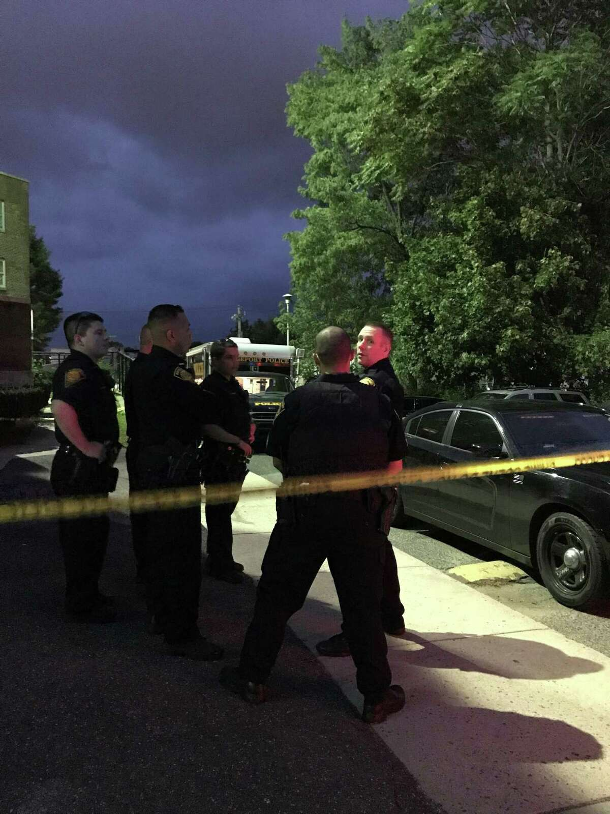Bridgeport police at the scene of the city's 21st homicide Wednesday.