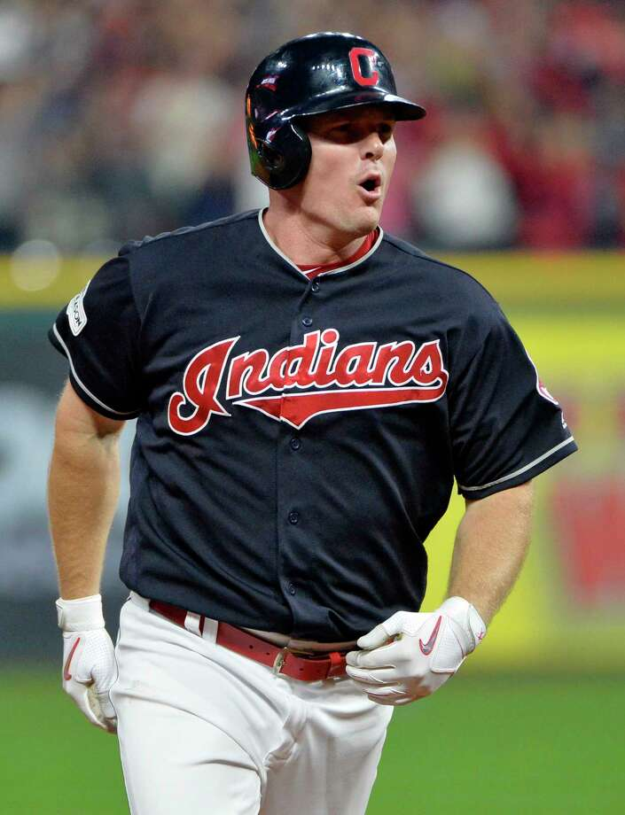 Cleveland Indians' Jay Bruce runs the bases after hitting a solo home run off New York Yankees relief pitcher David Robertson during the eighth inning of Game 2 of a baseball American League Division Series, Friday, Oct. 6, 2017, in Cleveland. (AP Photo/Phil Long) Photo: Phil Long, FRE / AP 2017