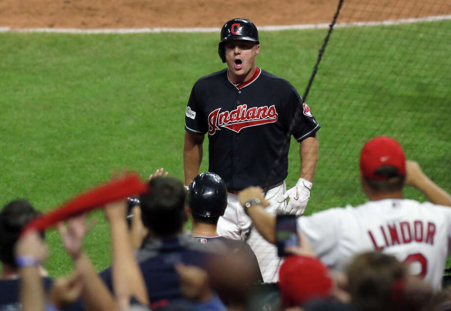 The Cleveland Indians' Jay Bruce celebrates his solo home run against the New York Yankees to tie the game in the eighth inning during Game 2 of the American League Division Series, Friday, Oct. 6, 2017, at Progressive Field in Cleveland. (Mike Cardew/Akron Beacon Journal/TNS) Photo: Mike Cardew, MBR / Akron Beacon Journal