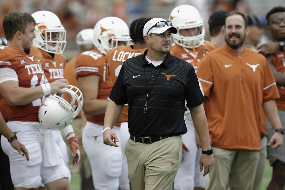 AUSTIN, TX - OCTOBER 07:  Head coach Tom Herman of the Texas Longhorns  watches players warm up before the game against the Kansas State Wildcats at Darrell K Royal-Texas Memorial Stadium on October 7, 2017 in Austin, Texas.  (Photo by Tim Warner/Getty Images) Photo: Tim Warner, Stringer / Getty Images / 2017 Getty Images