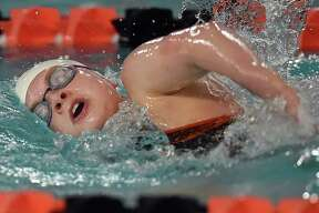 Shelton junior Emma Parkes places first in 5:41.02 in the 500 yard freestyle against in a dual meet against Guilford and Branford, Wednesday, Oct. 11, 2017, at the Shelton Community Center pool in Shelton. The Gaels defeated Guilford, 120-47 and Branford, 101-67.