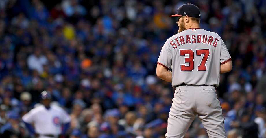 CHICAGO, IL - OCTOBER 11:  Stephen Strasburg #37 of the Washington Nationals pitches in the sixth inning during game four of the National League Division Series against the Chicago Cubs at Wrigley Field on October 11, 2017 in Chicago, Illinois. (Photo by Stacy Revere/Getty Images) Photo: Stacy Revere/Getty Images