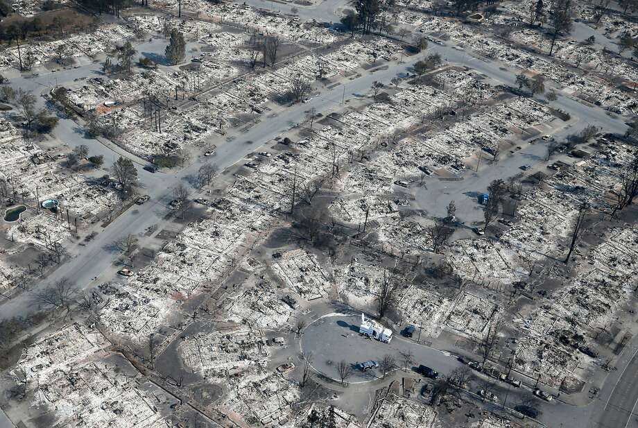 Homes that burned to the ground in Sunday night's firstorm are seen in the Coffey Park neighborhood of Santa Rosa, Calif. on Wednesday Oct. 11, 2017. Photo: Paul Chinn, The Chronicle