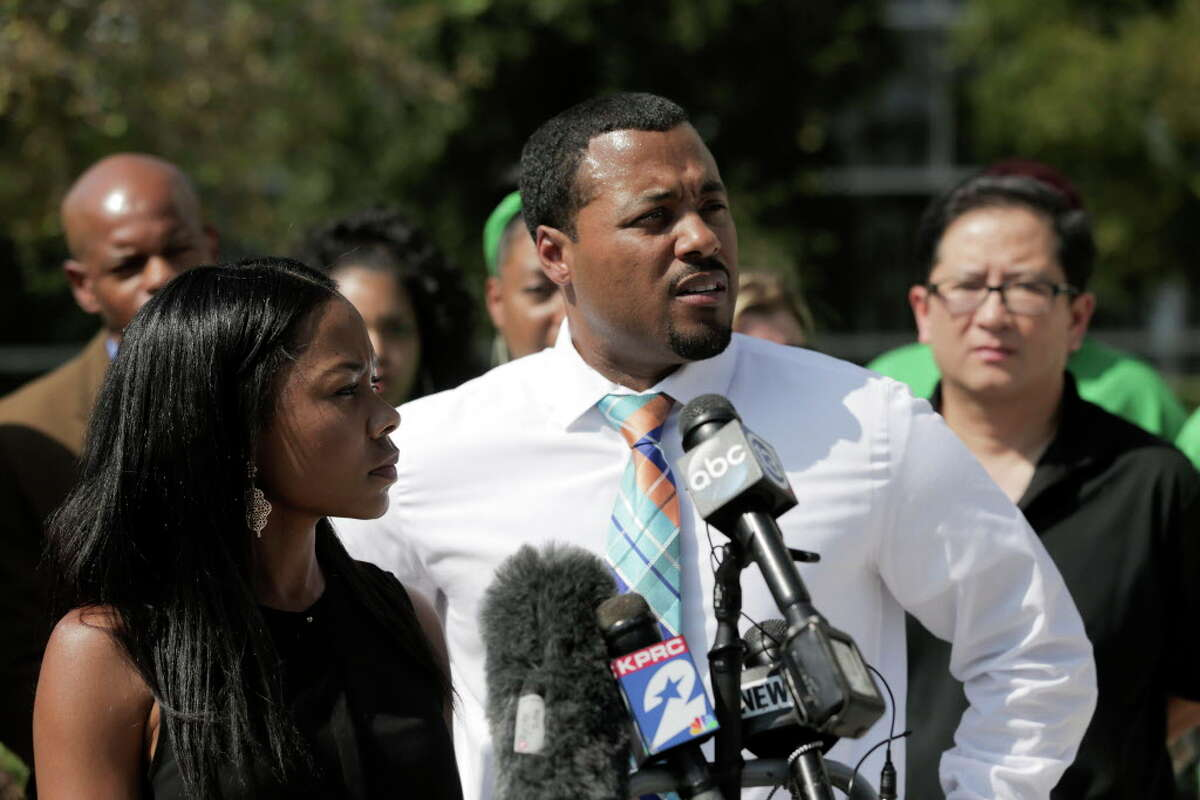 R.J. andLatoika King, parents of a femal student in The Woodlands School District, talk their disappointment in the school's handleing of her getting a racist message on SnapChat from a classmate on Wednesday, Oct. 11, 2017, in Houston.