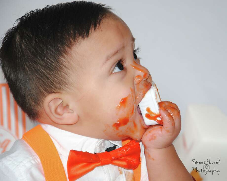 Miguel Macias, who turns 1 in November, doesn't need a smash cake. He had a nice Whataburger meal instead in his photo shoot by Sweet Hazel Photography. Photo: Sweet Hazel Photography/Facebook