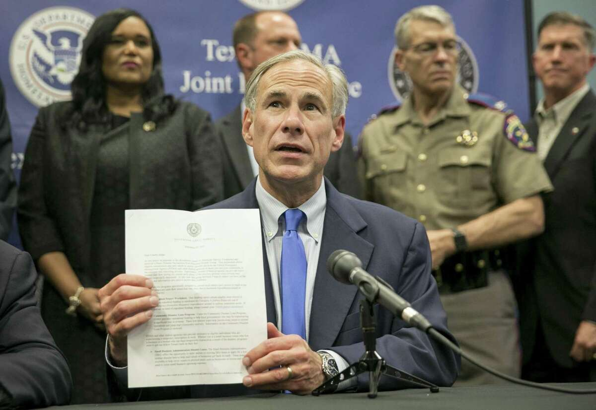 Texas Gov. Greg Abbott speaks about Hurricane Harvey recovery efforts at a Sept. 26 news conference at the Texas FEMA Joint Field Office in Austin. Abbott, angered by an anticipated move by U.S. House leaders to sidetrack Texas' request for an additional $18.7 billion in Hurricane Harvey aid, blasted the Texas congressional delegation for not fighting it.