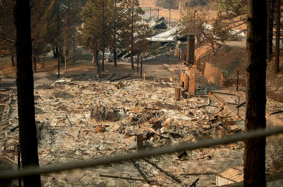 The remains of a building are pictured at Camp Newman, a Jewish summer camp that sustained damage during the Tubbs fire, near Santa Rosa, Calif., on Wednesday, Oct. 11, 2017. Photo: Noah Berger, Special To The Chronicle