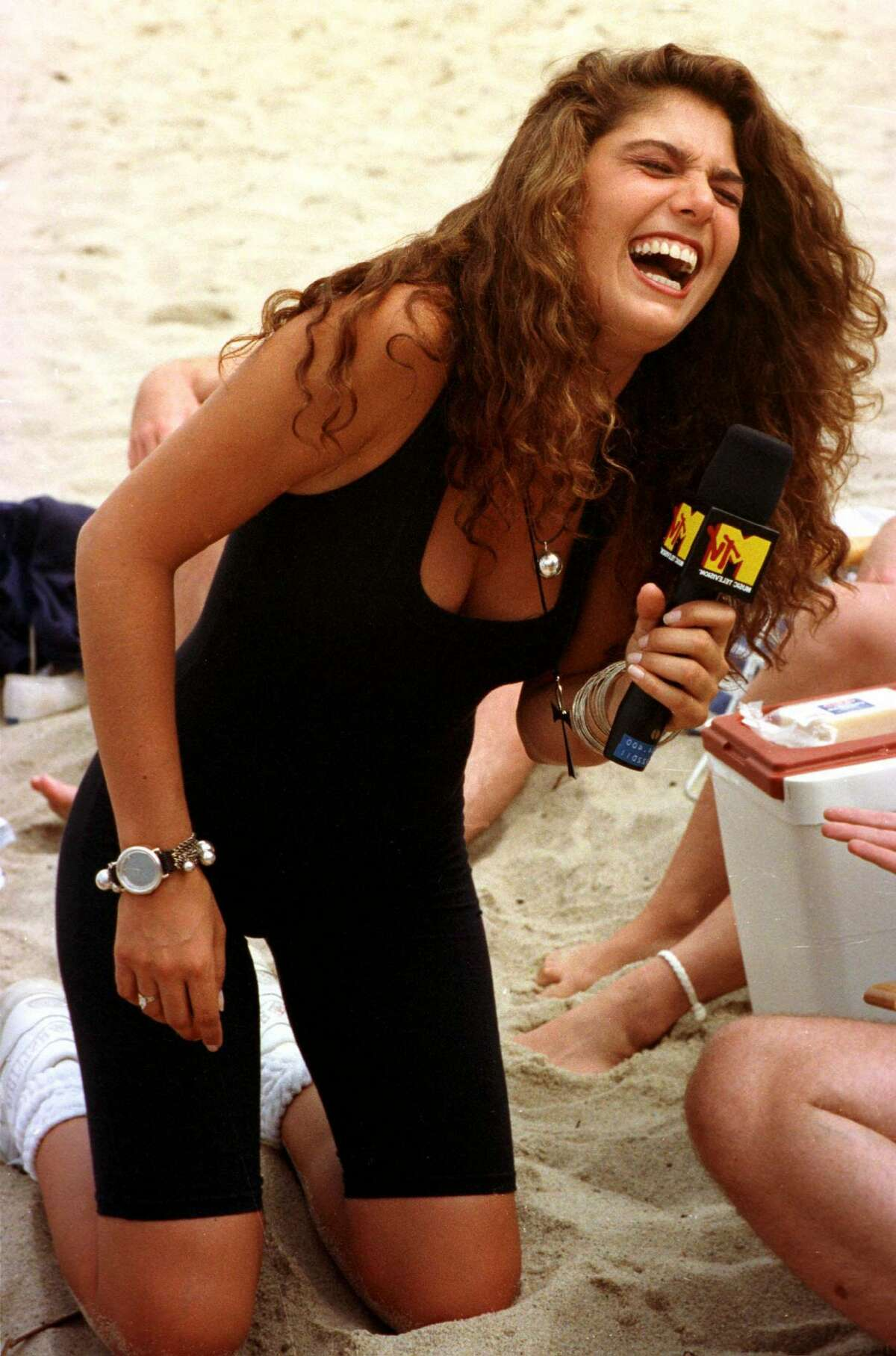 MTV host Daisy Fuentes during the filming of Beach MTV at the Beachcomber in Wellfleet, Massachusetts, 29th July 1990. (Photo by Stephen Rose/Getty Images)