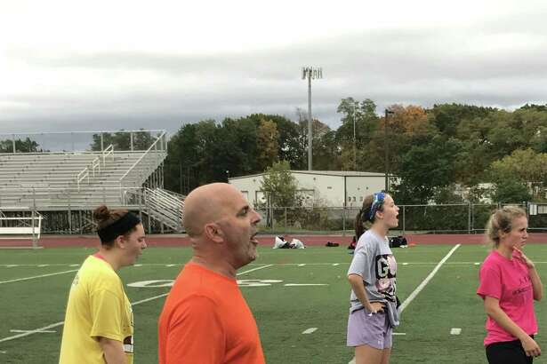 Schuylerville girls' soccer coach Michael Kopp gives instructions to his team at a recent practice. (Jason Franchuk / Times Union)