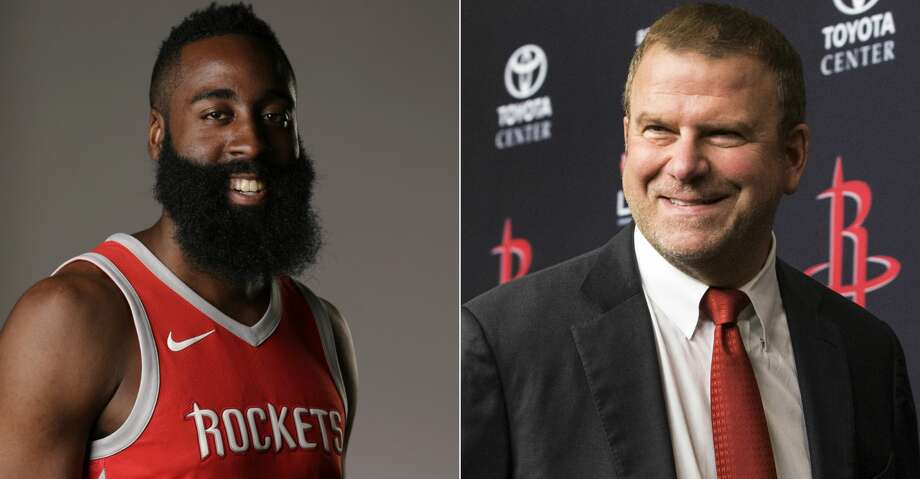 """""""We're excited about the partnership. It's an opportunity of a lifetime,"""" James Harden said of new Rockets owner Tilman Fertitta. Photo: Brett Coomer/Michael Wyke"""