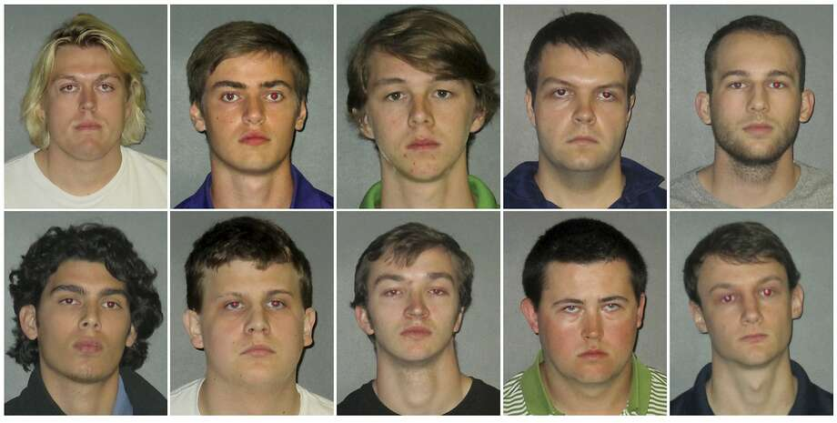 This combination of undated images shows from top row left to right: Sean Paul Gott, Ryan Isto, Sean Pennison, Elliot Eaton, Nicholas Taulli, and bottom row from left to right, Zachary Castillo, Hudson Kirkpatrick, Zachary Hall, Patrick Forde, and Matthew Naquin. Multiple people were arrested Wednesday, Oct. 11, 2017,  on hazing charges in the death of Maxwell Gruver, a Louisiana State University fraternity pledge whose blood-alcohol content level was more than six times the legal limit for driving, officials said.   Naquin also faces a negligent homicide charge. (East Baton Rouge Parish Sheriff's Office via AP) Photo: Associated Press