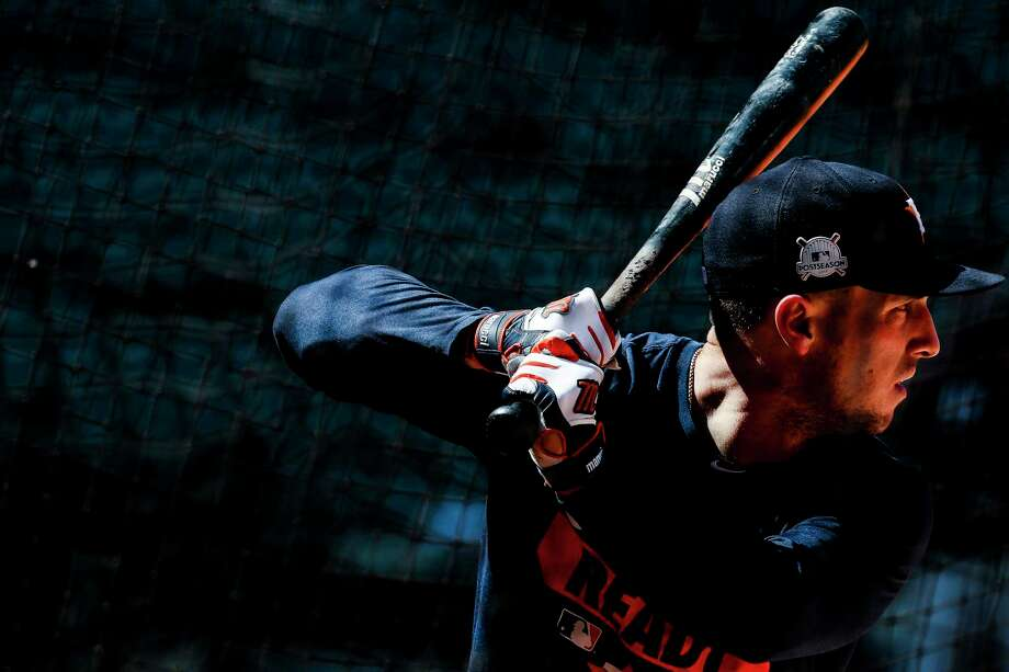 Alex Bregman, who hit a game-tying homer in the Astros' ADLS clincher on Monday, takes batting practice at Minute Maid Park on Wednesday. After posting an OPS of .757 before the All-Star break, Bregman had a second-half OPS of .903. Photo: Michael Ciaglo, Houston Chronicle / Michael Ciaglo