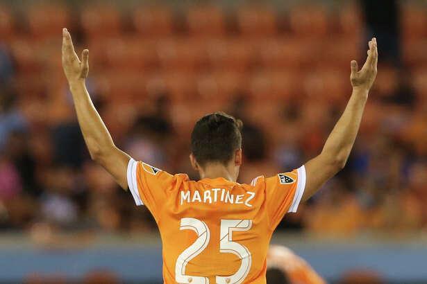 Houston Dynamo midfielder Tomas Martinez (25) celebrates scoring a goal during the second half of the MLS game at BBVA Compass Stadium Wednesday, Oct. 11, 2017, in Houston. Houston Dynamo defeated Sporting Kansas City 2-1. ( Yi-Chin Lee / Houston Chronicle )