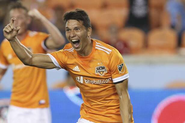 Houston Dynamo midfielder Tomas Martinez (25) celebrates his goal at the 63rd minute during the second half of the MLS game at BBVA Compass Stadium Wednesday, Oct. 11, 2017, in Houston. Houston Dynamo defeated Sporting Kansas City 2-1. ( Yi-Chin Lee / Houston Chronicle )
