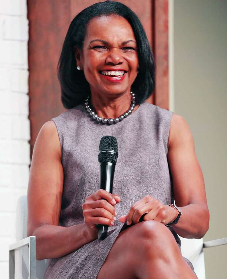 OLYMPIA FIELDS, IL - JUNE 28:  Dr. Condoleezza Rice chats with guests at the KPMG Women's Leadership Summit prior to the start of the 2017 KPMG Women's PGA Championship at Olympia Fields Country Club on June 28, 2017 in Olympia Fields, Illinois.  (Photo by Scott Halleran/Getty Images for KPMG) ORG XMIT: 692446359 Photo: Scott Halleran / 2017 Getty Images