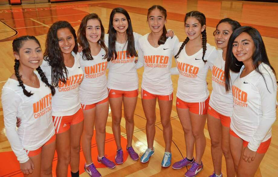 From left to right, Alma Duron, Emma Gomez, Magaly Lopez, Sabrina Pena, Elisa Peralta, Kaitlyn Martinez, Adriana Hernandez and Valerie Garcia make up United's cross country team which is the favorite to claim the District 29-6A title on Saturday. Photo: Clara Sandoval / Laredo Morning Times
