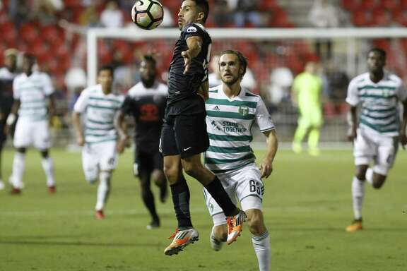San Antonio FC's Ever Guzman (99) gains control of the ball against Portland Timber 2's Kyle Bjornethun (63) during their game at Toyota Field on Oct. 11. The possibility of an MLS team Austin likely means no such team here. Meanwhile, the team we do have is playing just fine.