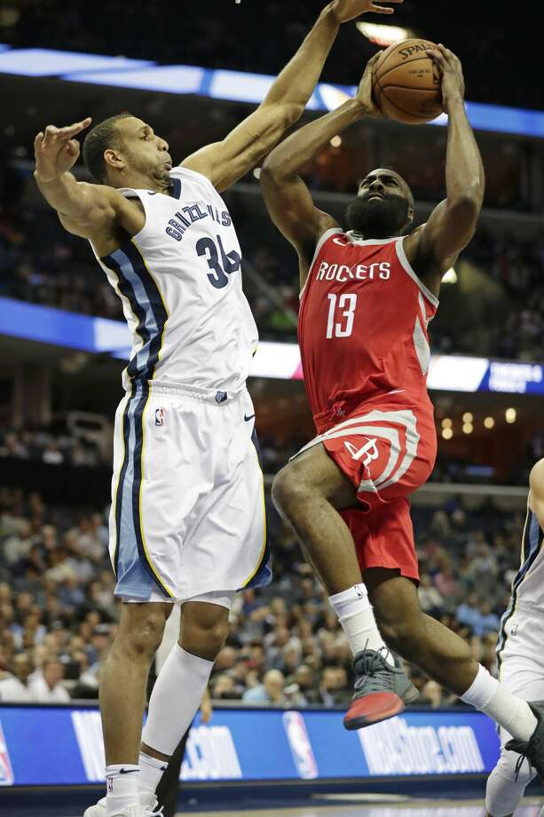 Memphis Grizzlies forward Brandan Wright (34) tries to block Houston Rockets guard James Harden (13) from a layup attempt in the first half of an NBA preseason basketball game on Wednesday, Oct. 11, 2017, in Memphis, Tenn. (AP Photo/Rogelio V. Solis) Photo: Rogelio V. Solis/Associated Press