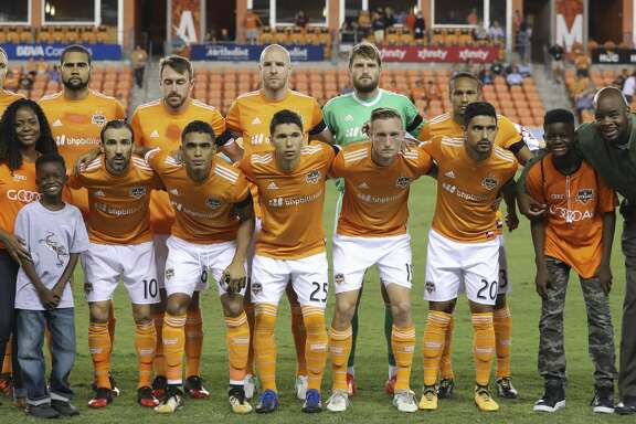 Houston Dynamo starting XI poses for a photo before taking on Sporting Kansas City for the MLS game at BBVA Compass Stadium Wednesday, Oct. 11, 2017, in Houston. ( Yi-Chin Lee / Houston Chronicle )