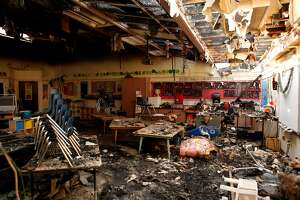 A primary school classroom at St. Rose School is seen with damages caused by the Tubbs fire in Santa Rosa, Ca. on Wednesday, October 11, 2017.