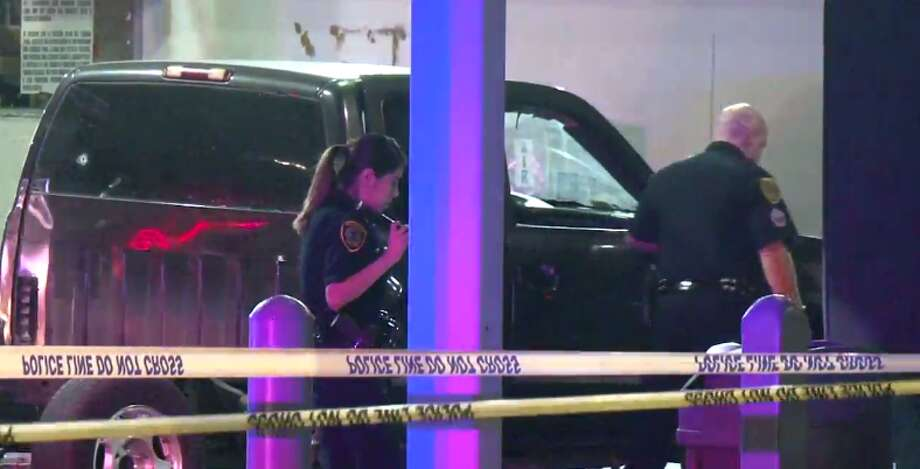 Two people were injured late Wednesday after a drive-by shooting outside of a south Houston gas station. (Metro Video) Photo: Metro Video